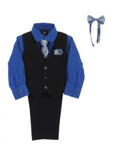 Lito Baby Boys Royal Blue Shirt Zipper Tie Bow Tie Vest Pant Set 6-24M