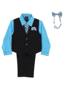 Lito Boys Multi Colors Shirt Zipper Tie Bow Tie Pinstripe Vest Pant Set 6M-12Y