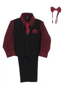 Lito Little Boys Burgundy Shirt Zipper Tie Bow Tie Pinstripe Vest Pant Set 2T-7