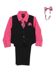Lito Big Boys Fuchsia Shirt Zipper Tie Bow Tie Pinstripe Vest Pant Set 8-12
