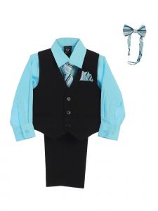 Lito Baby Boys Hawaiian Blue Shirt Zipper Tie Bow Tie Vest Pant Set 6-24M
