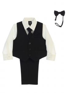 Lito Big Boys Ivory Shirt Zipper Tie Bow Tie Pinstripe Vest Pant Set 8-12