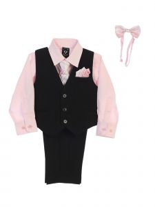 Lito Little Boys Pink Shirt Zipper Tie Bow Tie Pinstripe Vest Pant Set 2T-7