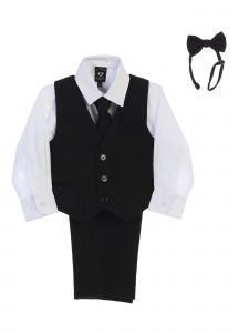 Lito Big Boys White Shirt Zipper Tie Bow Tie Pinstripe Vest Pant Set 8-12