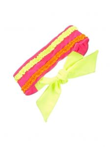 Girls Fuchsia Multi Color Chassing Rainbows Trimmed Swim Headband
