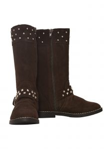 L'Amour Girls Brown Suede Studded Buckle Long Boots 11-4 Kids