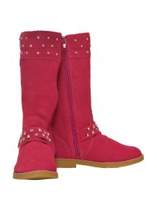 L'Amour Girls Fuchsia Suede Studded Buckle Long Boots 11-4 Kids