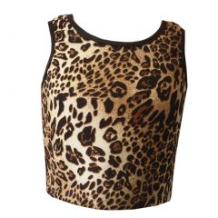 Big Girls Light Brown Leopard Print Short Waist Sleeveless Tank Top 8-14