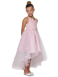 Big Girls Pink 3D Floral Appliques Satin Tulle Junior Bridesmaid Dress 8-12