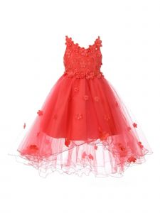 Little Girls Coral 3D Floral Appliques Satin Tulle Flower Girl Dress 2-6