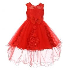Little Girls Red Pearl Beaded Bow Hi-Low Wired Flower Girl Dress 2-6