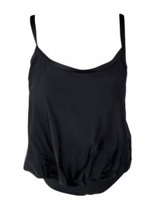 Women's Black Blouson Yoga Brief Tankini Swimsuit 8-16
