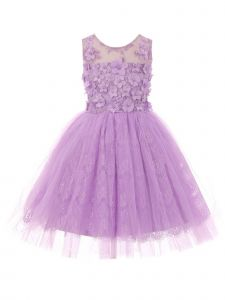 Little Girls Lilac 3D Floral Adorned Illusion Tulle Flower Girl Dress 2-6