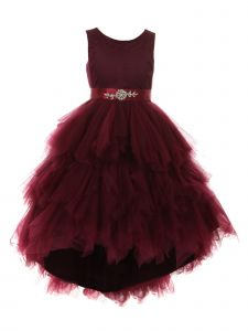 Little Girls Burgundy Satin Ruffle Tulle Hi-Low Elegant Flower Girl Dress 2-6