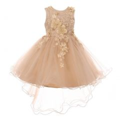 Little Girls Taupe 3D Floral Appliques Hi-Low Tulle Flower Girl Dress 2-6