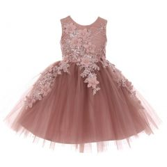Little Girls Mauve 3D Floral Appliques Soft Tulle Easter Flower Girl Dress 2-6