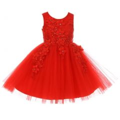 Little Girls Red 3D Floral Appliques Soft Tulle Flower Girl Dress 2-6