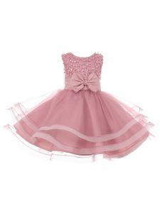 Baby Girls Dusty Rose Pearl Sequin Bow Tapered Easter Flower Girl Dress 3-24M