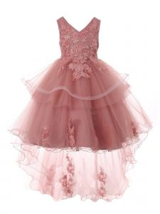 Big Girls Mauve Lace Applique Sequin Pearl Tulle Junior Bridesmaid Dress 10