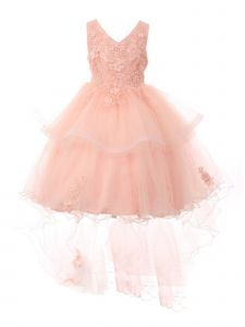 Little Girls Peach Lace Applique Sequin Pearl Tulle Flower Girl Dress 2-6