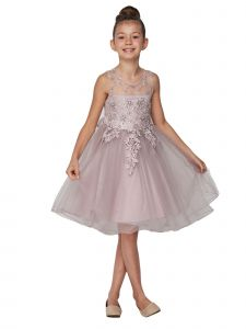 Little Girls Mauve Pearl Beaded Embroidered Lace Christmas Dress 2-6