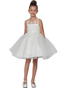 Big Girls White Pearl Beaded Embroidered Lace Junior Bridesmaid Dress 8-12