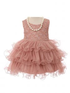 Girls Mauve Lace Stretch Necklace Wired Tutu Flower Girl Dress 6M-2T