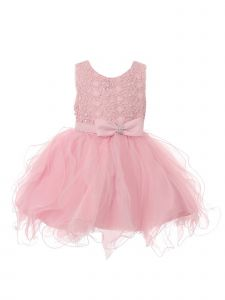 Baby Girls Pink Rhinestone Bow Lace Pearl Adorned Flower Girl Dress 6-24M