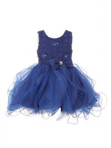 Baby Girls Royal Blue Rhinestone Bow Lace Pearl Adorned Flower Girl Dress 18M
