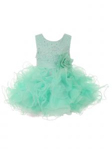 Baby Girls Mint Lace Sequin Multi Layer Ruffle Flower Girl Dress 6M