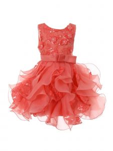 Baby Girls Coral Sequin Pearl Lace Tulle Ruffle Flower Girl Dress 6-24M