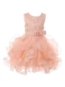 Baby Girls Peach Sequin Pearl Lace Tulle Ruffle Flower Girl Dress 24M