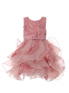 Baby Girls Rose Sequin Pearl Lace Tulle Ruffle Flower Girl Dress 6-24M