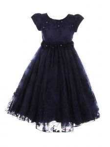Little Girls Navy French Chantilly Lace T-Length Flower Girl Dress 2-6