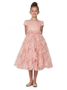 Little Girls Dusty Pink French Chantilly Lace T-Length Flower Girl Dress 2-6