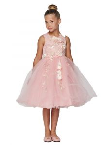 Cinderella Couture Big Girls Blush 3D Floral Tulle Junior Bridesmaid Dress 8-12