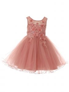 Big Girls Mauve 3D Floral Sequin Wired Tulle Skirt Junior Bridesmaid Dress 8-12