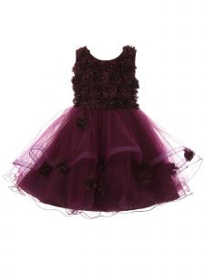 Big Girls Purple 3D Floral Sequin Wired Tulle Skirt Junior Bridesmaid Dress 8-12