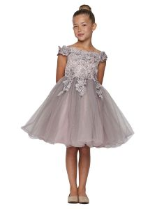 Girls Multi Color 3D Floral Tulle Off Shoulder Junior Bridesmaid Dress 2-12