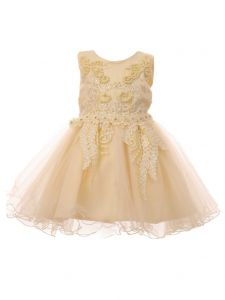 Baby Girls Champagne Satin Tulle Pearls 3D Lace Easter Flower Girl Dress 3-24M