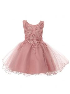 Baby Girls Dusty Rose Glitter Tulle Pearls Lace Easter Flower Girl Dress 12M