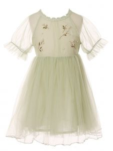 Little Girls Sage Applique Detail Round Neckline Cotton Lining Dress 2-6