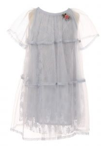 Girls Multi Color Floral Lace Tulle Cotton Lined Short Length Dress 2-10
