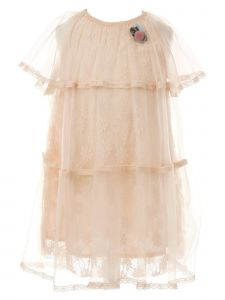 Big Girls Blush Floral Lace Tulle Cotton Lined Short Length Dress 8-10