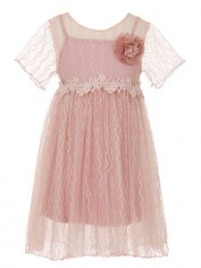 Little Girls Rose Flower Crochet Detail Cotton Lined Short Length Dress 2-6