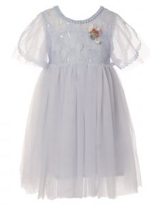 Girls Multi Color Flower Applique Adorned Lace Tulle Cotton Lined Dress 2-10