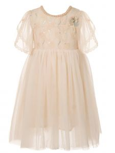 Little Girls Blush Flower Applique Adorned Lace Tulle Cotton Lined Dress 2-6
