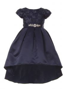 Little Girls Navy Rosette Rhinestone Sash Pleated Hi-Low Flower Girl Dress 4-6
