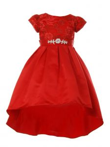 Girls Multi Color Rosette Rhinestone Sash Pleated Hi-Low Flower Girl Dress 4-14