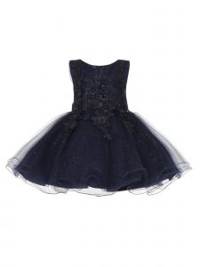 Baby Girls Navy Pearl Beaded 3D Floral Applique Flower Girl Dress 3-24M